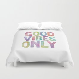 Good Vibes Only Watercolor Rainbow Typography Poster Inspirational childrens room nursery Duvet Cover
