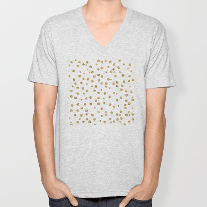 Gold glitter confetti on white - Metal gold dots Unisex V-Neck