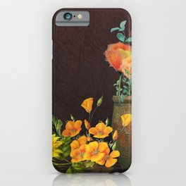 Watercolor Poppies and Golden Sunflowers iPhone Case