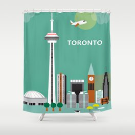 Toronto, Ontario, Canada - Skyline Illustration by Loose Petals Shower Curtain
