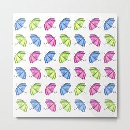 Colorful Umbrella Pattern Metal Print