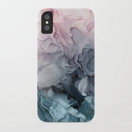 Blush and Paynes Gray Flowing Abstract Reflect iPhone Case