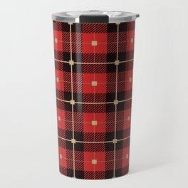 Red and Black Plaid Travel Mug