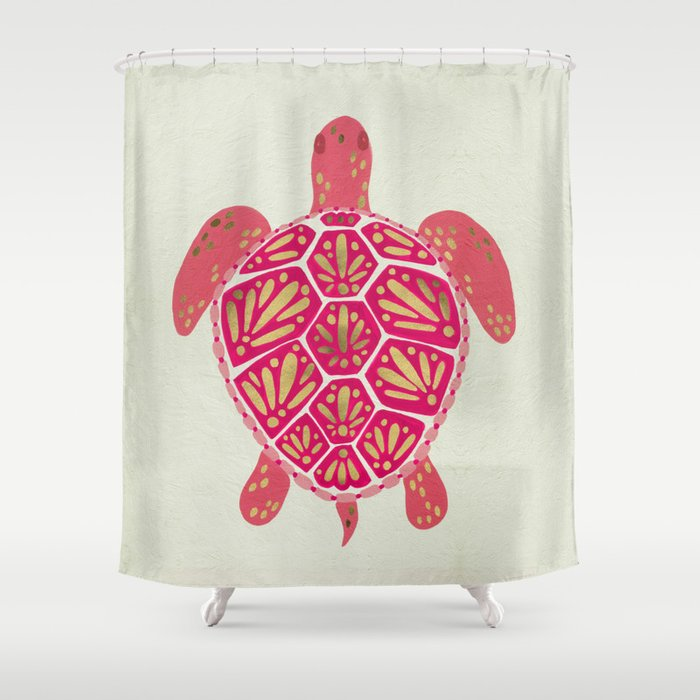 Sea Turtle In Pink Gold Shower Curtain