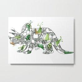 Steampunk Robot Triceratops Metal Print