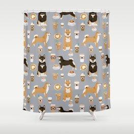 Shiba Inu coffee dog breed pet friendly pet portrait coffees pattern dogs Shower Curtain