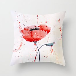 Poppy no 1 Throw Pillow