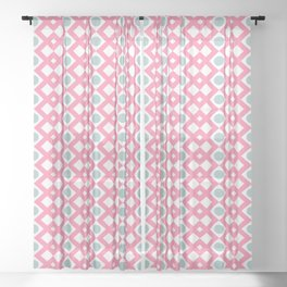 Geometric Pattern - Diamonds and Dots - Pink & Green Sheer Curtain