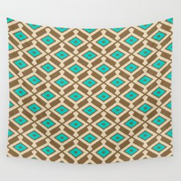 Tribal Ikat Pattern, Beige, Taupe and Turquoise Wall Tapestry