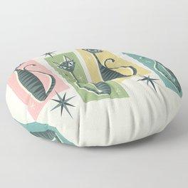 Retro Patchwork Tabbies ©studioxtine Floor Pillow