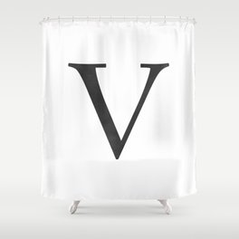 Letter V Initial Monogram Black and White Shower Curtain