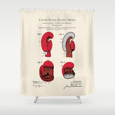 Boxing Glove Patent Shower Curtain
