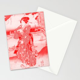 Geisha Standing on the Bank of the Sumida River - Vintage Japanese Art Print Stationery Cards