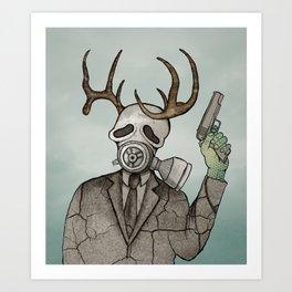 Collage Love: Apocalyptic Deer Man Art Print