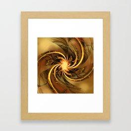 Fractal Twisted Glow Yellow Framed Art Print