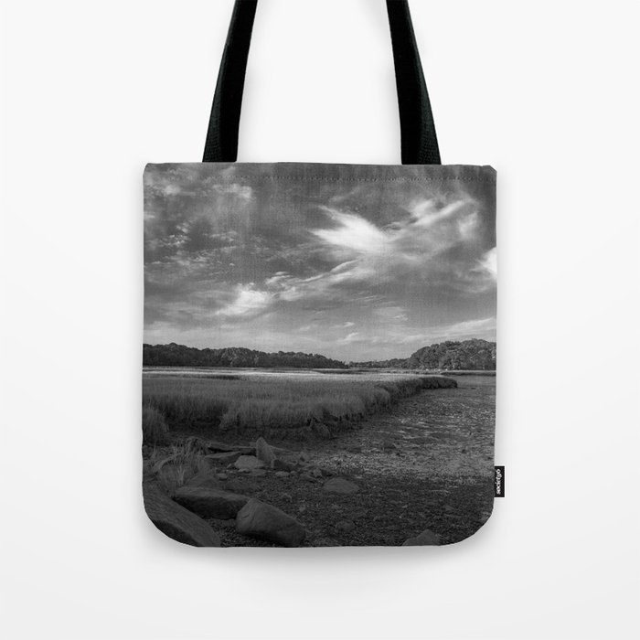 Sky and Marsh Black and white Tote Bag