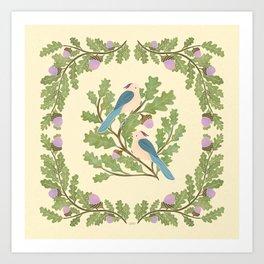 Art Nouveau Illustration / Square / Birds on Oak Tree / Blue Feathered Birds Art Print