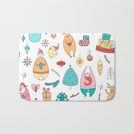 Cute Colorful Cartoon Christmas Animals Pattern Bath Mat