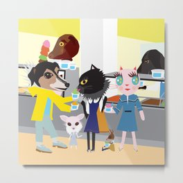 FASHIONISTA CAT Ice Cream Metal Print