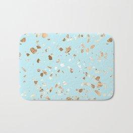 Blue Gold Modern Terrazzo Bath Mat
