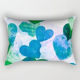 Fab Green & Blue Grungy Hearts Design Rectangular Pillow
