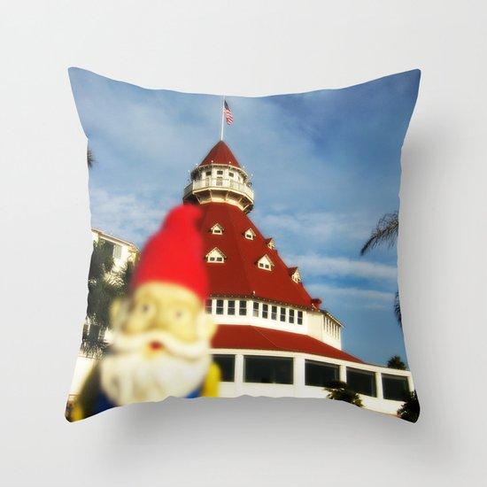 Gnorman visits the Hotel Del Coronado Throw Pillow