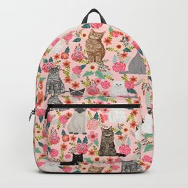 Cat floral mixed breeds of cats gifts for pet lovers cat ladies florals Backpack