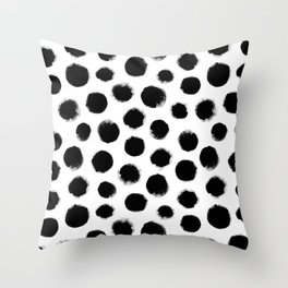 monochrome polka dots Throw Pillow