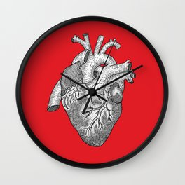 Anatomical Heart Ink Illustration Wall Clock