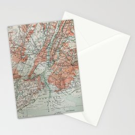 Vintage Map New York Stationery Cards