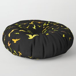 Seagulls gold silhouette on black background Floor Pillow