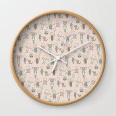 Children Playing-on Peach Wall Clock