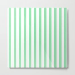 Large Mint Green and White Vertical Cabana Tent Stripes Metal Print