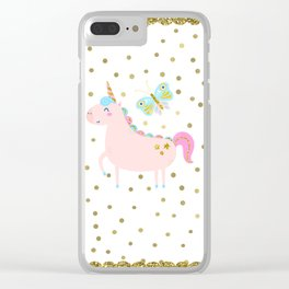 Pink & Gold Glitter Unicorn Clear iPhone Case