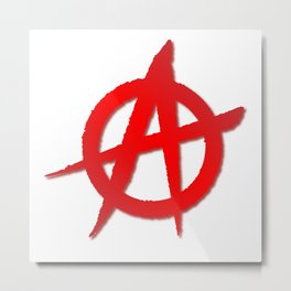 Red Anarchy Symbol Metal Print