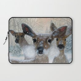 Deer in the Snowy Woods Laptop Sleeve