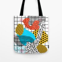 coachella Tote Bags featuring Wig Out - memphis style shapes retro pop art pattern dots stripes squiggles 1980's 80s 80 1980 retro by Wacka