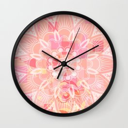 Abstract Peach Flower Wall Clock