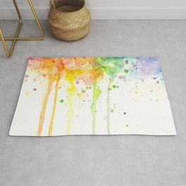 Watercolor Rainbow Splatters Abstract Texture Rug