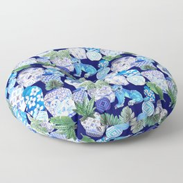 Chinoiserie Blue and white Chinese Ginger Jars and Foo dogs with palm and calathea Floor Pillow