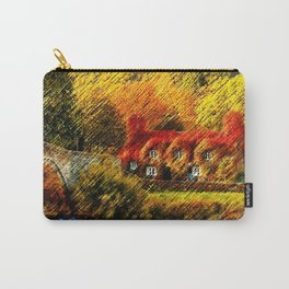 Autumn Foliage House with Red Parthenocissus On House Landscape by Jéanpaul Ferro Carry-All Pouch