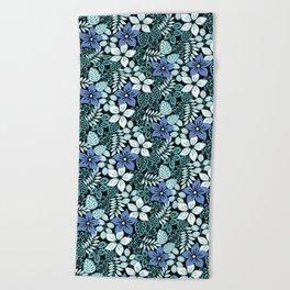 Tropical Floral Aqua Beach Towel