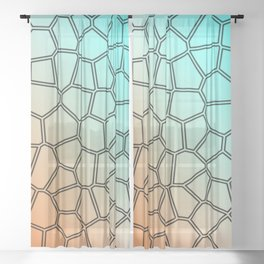 Orange and blue shell pattern Sheer Curtain