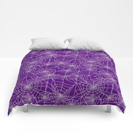 Purple Cobwebs Comforters