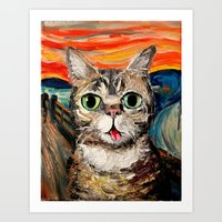 lil bub Art Prints featuring Lil Bub Meets The Scream by Sagittarius Gallery