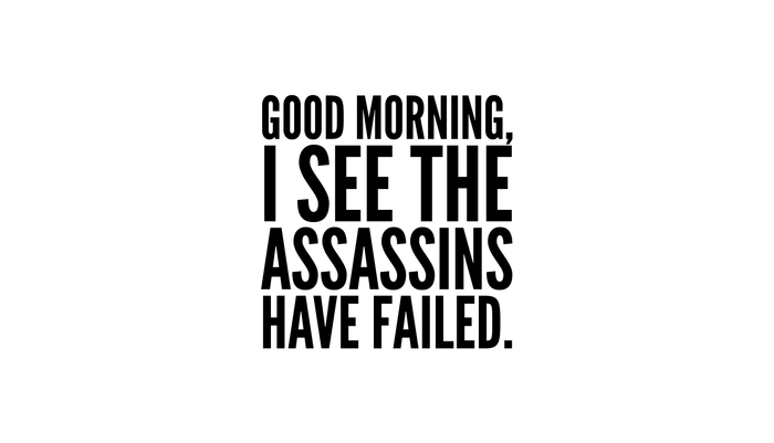 Good morning, I see the assassins have failed. Kissenbezug