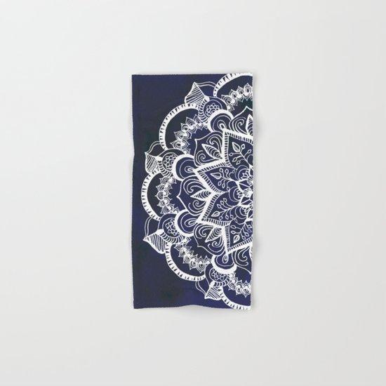 White Feather Mandala on Navy Hand & Bath Towel