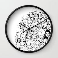faces Wall Clocks featuring Faces by Allison Kiloh