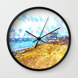 Life Guard Station On A Lonely Beach Wall Clock