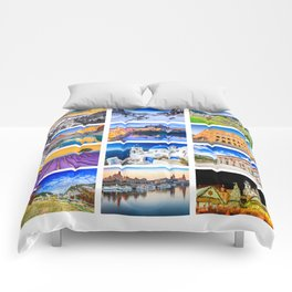 World travel collage Comforters
